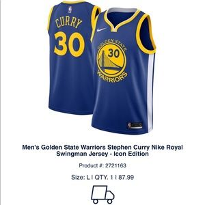 Golden State Warriors Stephen Curry Nike Jersey
